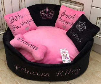 Bright Pink and Black Princess Dog Bed
