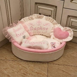Cream and Baby Pink Princess Dog Bed