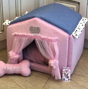 Baby Pink and Blue Denim Luxury Dog House with Sparkles Crown