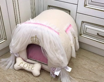 Cream Luxury Dog House with Ivory Curtains and Crown Monogram