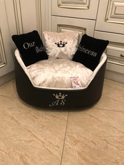 Luxury Crushed Velvet Designer Dog Bed in Ivory and Black Faux Leather