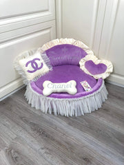 Purple and Cream Princess Designer Dog Bed