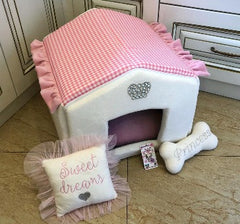 Baby Pink and Cream Luxury Dog House with Sparkles Crown