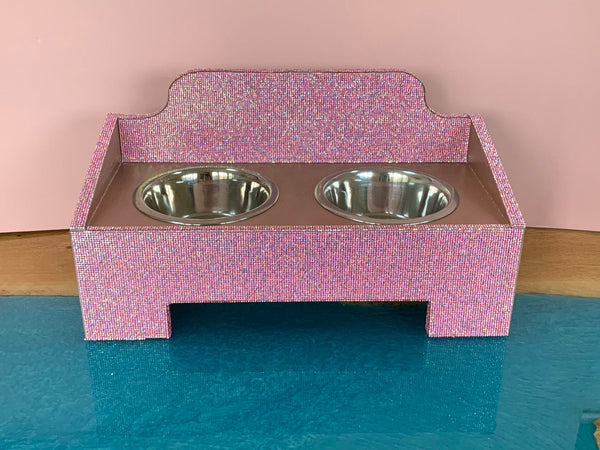 Handmade Pink Bling Princess Rhinestone Dog Feeder