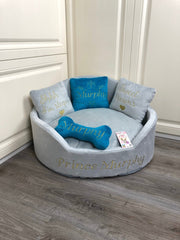 Light Gray and Teal Luxury Dog Bed