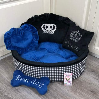 Black and Navy Luxury Dog Bed
