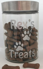 Personalized Pet Treat Jar With Silver Lid