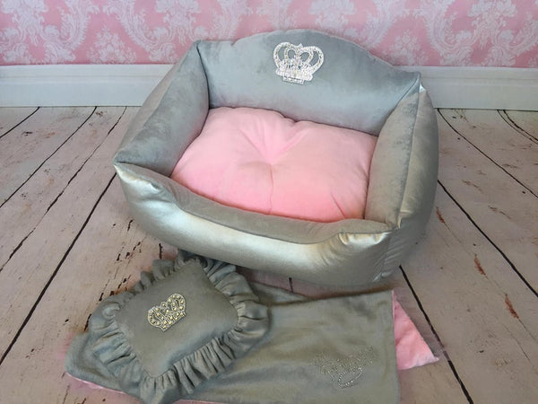 Pink and Silver Dog Bed