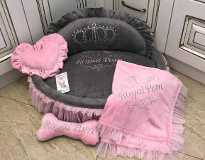 Baby Pink and Gray Princess Designer Dog Bed with Crown Sparkles