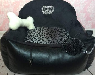 Black & Leopard Car Seat for Dogs
