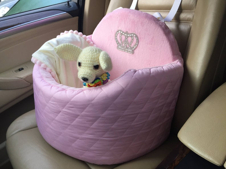 Handmade Pink Car Seat for Dogs