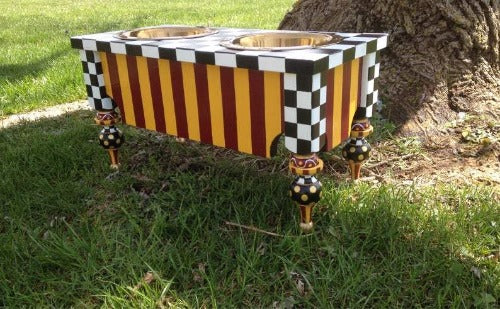 Hand Painted Burgundy & Gold Checkered Feeder with Pointy legs