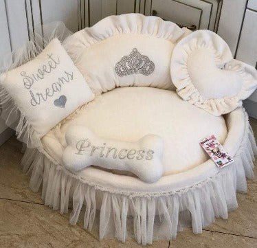 Cream Princess Designer Pet Bed with Crown Sparkles