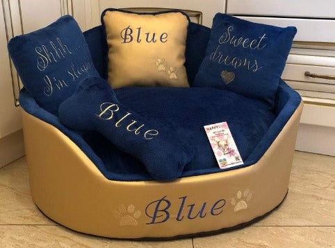 Golden and Royal Blue Luxury Designer Dog Bed Faux Leather