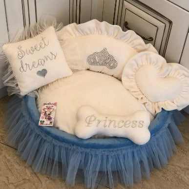 Cream and Blue Designer Princess Bed with Crown Sparkles
