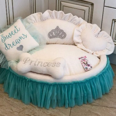 Cream and Mint Princess Designer Pet Bed with Crown Sparkles