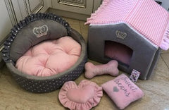 Baby Pink Plaid and Gray Cream Luxury Dog House