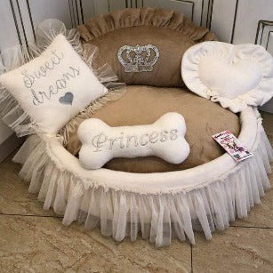 Cream and Beige Princess Designer Dog Bed with Crown Sparkles