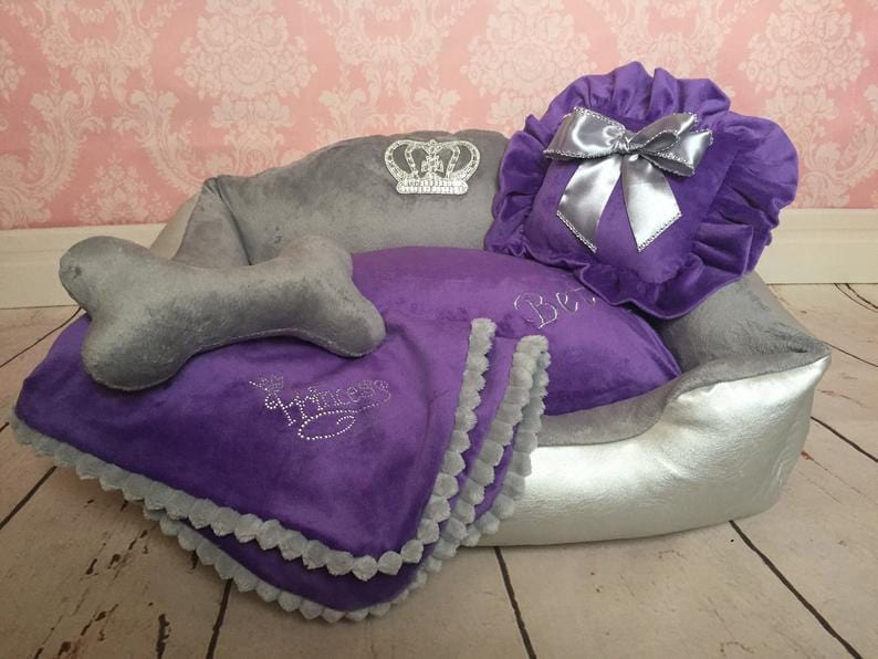 Purple and Silver Dog Bed