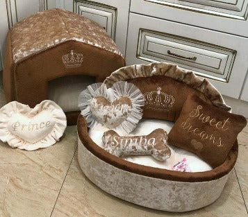 Brown and Beige Princess Dog Bed