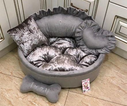 Gray Designer Dog Bed with Crown Rhinestones