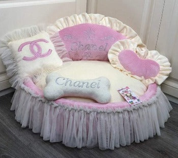 Baby Pink and Cream Princess Designer Pet Bed