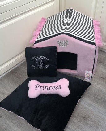 Baby Pink and Black Striped Luxury Dog House with Sparkles Crown