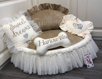 Beige and Cream Designer Princess Dog Bed with Crown Sparkles