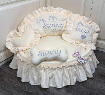 Cream Princess Designer Dog Bed