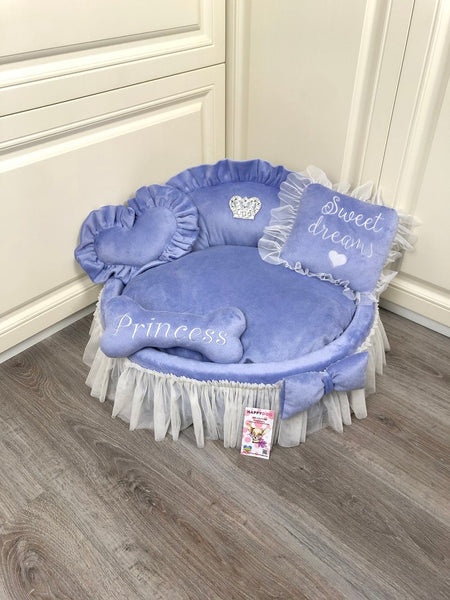 Lavender Princess Designer Dog Bed with Crown Sparkles