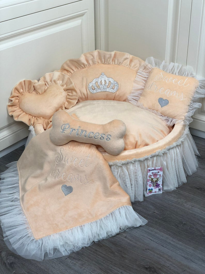 Peach Princess Designer Dog Bed with Crown Sparkles