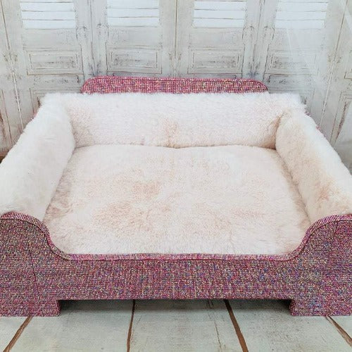 Handmade Pink Bling Princess Rhinestone Dog Bed