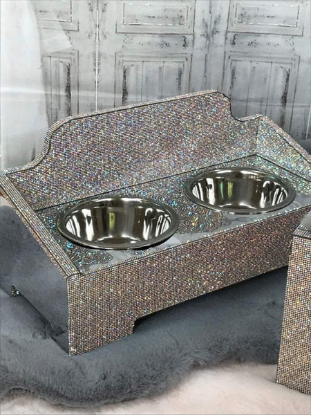 Handmade Silver Bling Princess Dog Feeder