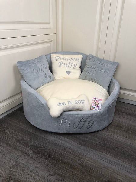 Light Gray and Cream Luxury Dog Bed