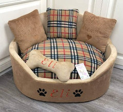 Brown Tartan Designer Dog Bed