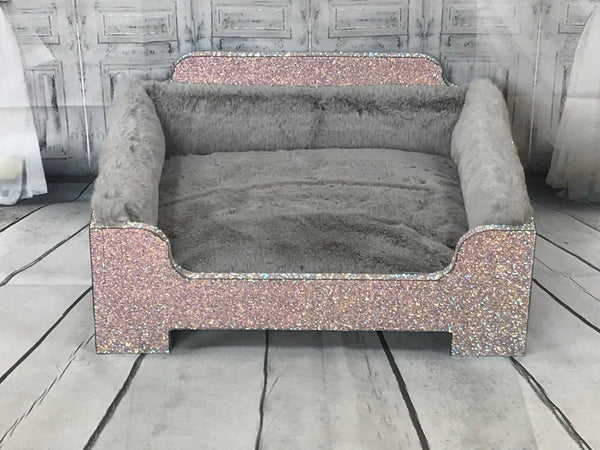 Handmade Silver Bling Princess dog bed with faux fur.
