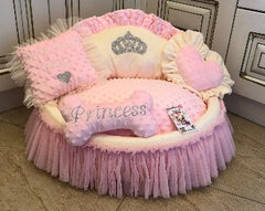 Baby Pink and Cream Crown Sparkles Dog Bed