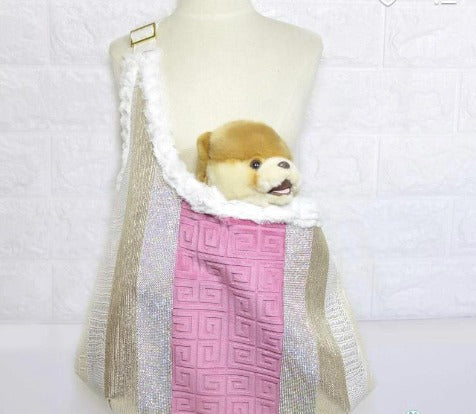 Fancy, Dog, Sling, Bag, Pink, Ivory, Gold, Leather, Designer, Dog Travel Purse