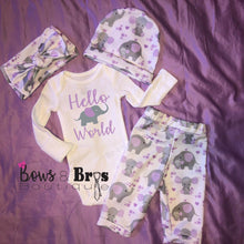 Load image into Gallery viewer, Hello World Purple Elephant Baby Girl Coming Home Outfit- 1,2,3 or 4 Piece Set - Bows and Bros Boutique LLC
