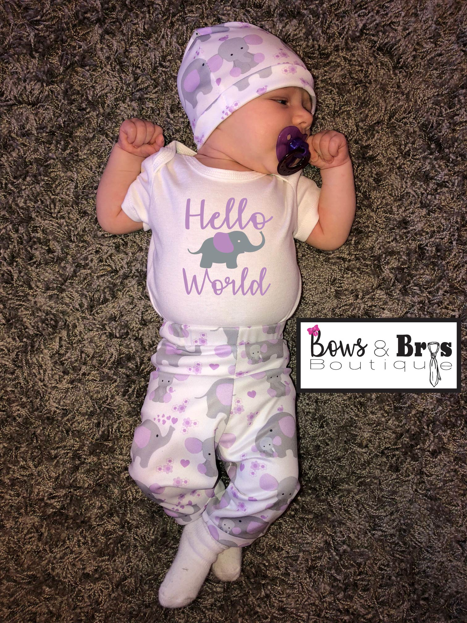 Monthly Onesie Baby Girl Outfit Set Baby Coming Home Outfit Purple Elephant Outfit Hospital Outfit Newborn Outfit Available Up To 24 Mo.