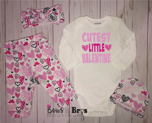 Cutest Little Valentine Baby Girl 4 Piece Valentines Day Outfit Set