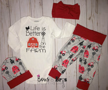 Load image into Gallery viewer, Life is Better On The Farm Red Farm Gender Neutral Coming Home Outfit- 1,2,3,4 or 5 Piece Set