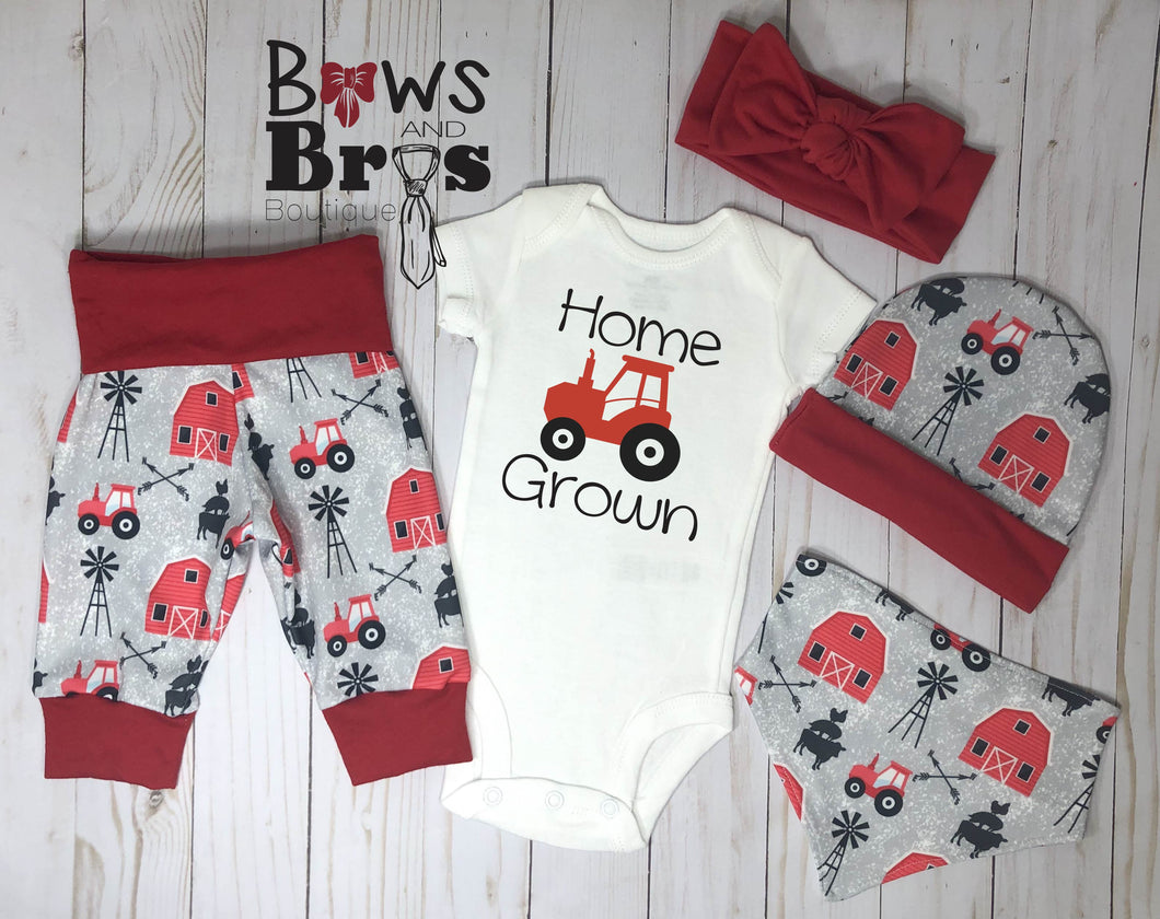 Home Grown Red Gender Neutral Coming Home Outfit- 1,2,3,4 or 5 Piece Set - Bows and Bros Boutique LLC
