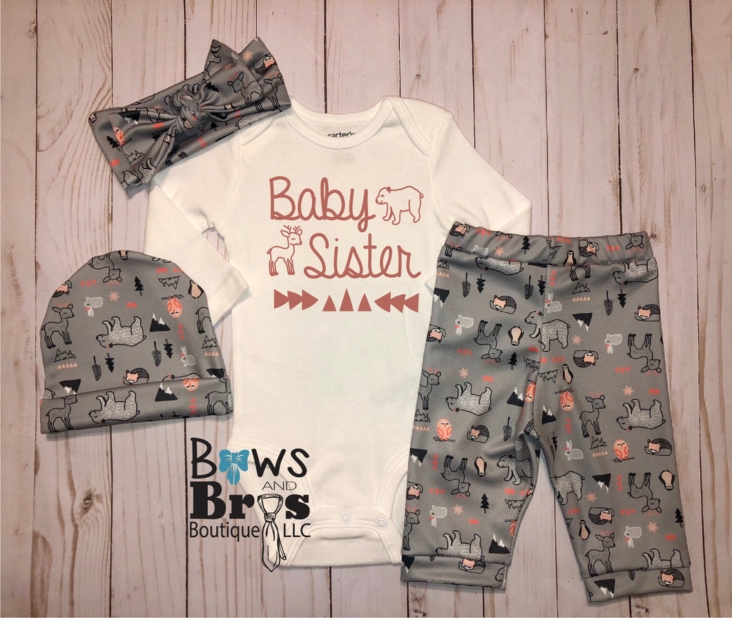 Baby Sister Woodland Bear Deer Baby Girl Coming Home Outfit- 1,2,3 or 4 Piece Set
