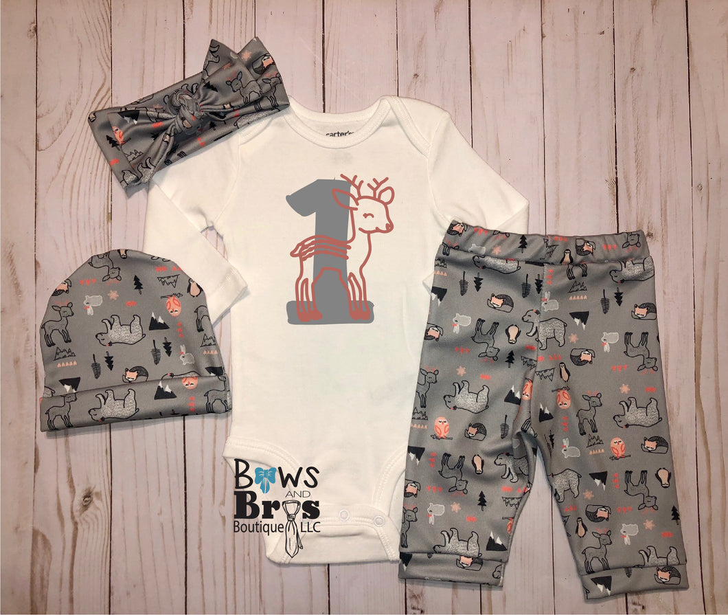 Number 1 First Birthday Woodland Bear Deer Baby Girl Coming Home Outfit- 1,2,3 or 4 Piece Set - Bows and Bros Boutique LLC