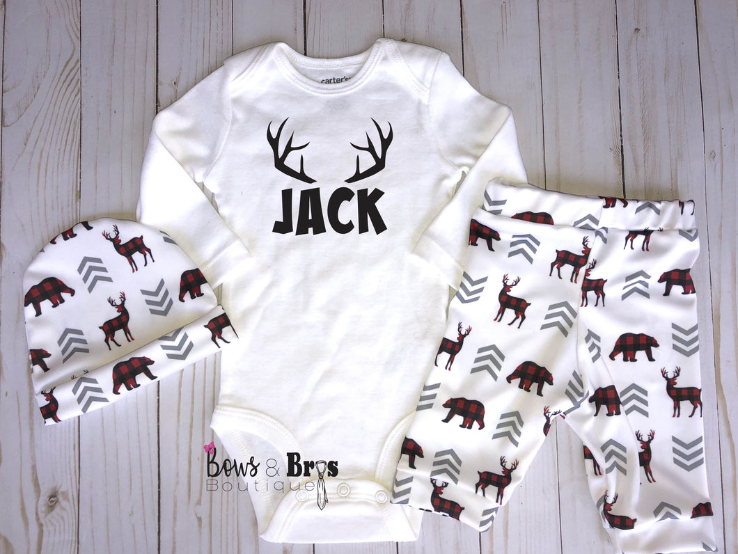Custom Name Boys Plaid Woodland Coming Home Outfit- 1, 2 or 3 Piece Set - Bows and Bros Boutique LLC
