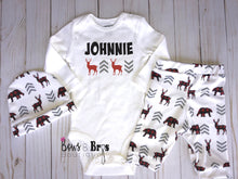 Load image into Gallery viewer, Custom Name Boys Plaid Chevron Woodland Coming Home Outfit- 1, 2 or 3 Piece Set - Bows and Bros Boutique LLC
