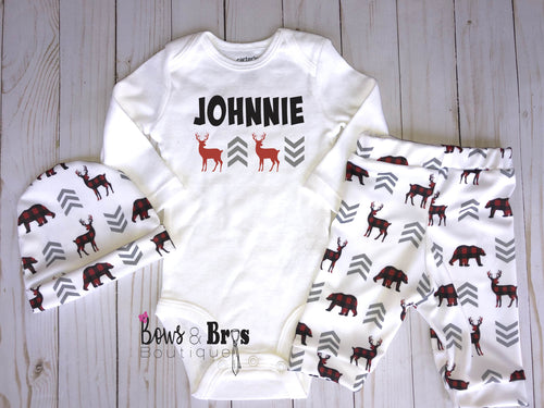 Custom Name Boys 4 Piece Plaid Chevron Woodland Outfit Set