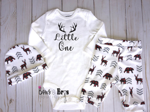 Little One Boys Plaid Woodland Coming Home Outfit- 1, 2 or 3 Piece Set - Bows and Bros Boutique LLC