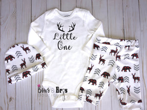 Little One Boys 4 Piece Plaid Woodland Outfit Set